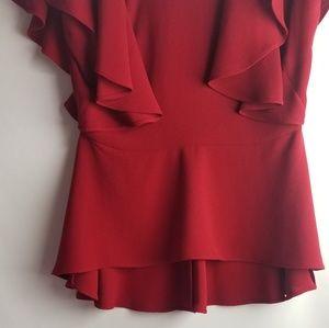 Zara Tops - ZARA Woman Red Ruffle Sleeve Top